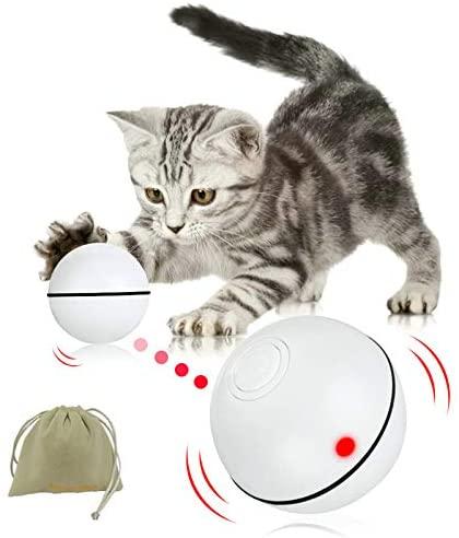 Balle interactive pour chat - Détection d'obstacles - Jouet pour chaton avec fonction de minuterie LED rechargeable par USB - Cadeau idéal pour votre chat et chiot