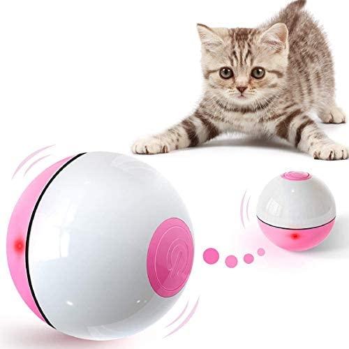 Iokheira Jouet Chat, Boule Auto-Rotative à 360 Degrés avec LED Lumières Rechargeable USB Jouet Interactif Électrique Balle Chat pour Animaux Chien Chatons