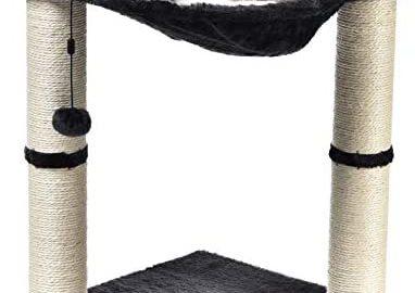Amazon Basics Arbre à chat en forme de tour avec abri, lit hamac et griffoir - 41 x 51 x 41 cm, Gris