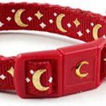"""waaag Collier pour Chat Lunes et étoiles dorées - pour Chat - Brillent dans Le Noir, Standard 9""""-15"""" Neck, écarlate"""