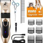 Tondeuse Chien, Bonve Pet Professionnelle tondeuse pour chien pour chats et animaux, Bruit inférieur à 50 db, Piles rechargeables, 5 positions, 4 heures d'utilisation, avec 7 accessoires