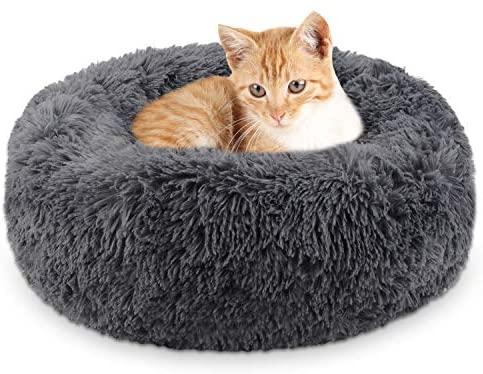 Legendog Lit de Chat de, lit Doux/Chaud d'animal familier/lit de Sommeil de Chat/Lits d'animal familier pour des Chatons Dormant (Dark Grey)