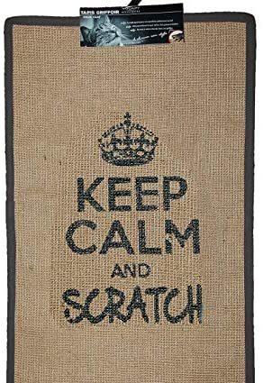 Wouapy - Tapis Griffoir pour Chat - Tapis Rectangle en Sisal - Tapis a Gratter - Design & Tendance - Inscription « Keep Calm and Scratch » - Pratique & Antidérapant - Gris Anthracite