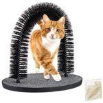 Relaxdays Arche à chat avec herbe à chat, archet de toilettage pour chat - Pour toutes les longueurs de poils - Noir