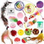 Nabance Jouets Chat, 20 pièces Jouets pour Chat Jouets interactifs pour Chats Jouet à Plumes pour Chats Souris y Balles Plumes Jouets pour Chat Chaton Minou